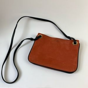 Small cross body leather bag, rust and black